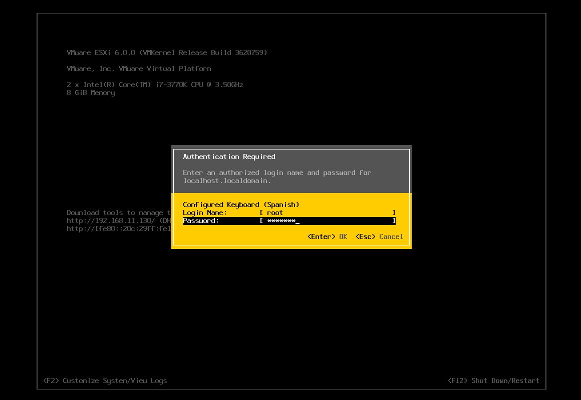 Instalacion de ESXi 6.0: configurando la red