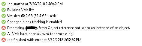 veeam error Object reference not set an instance of an object.